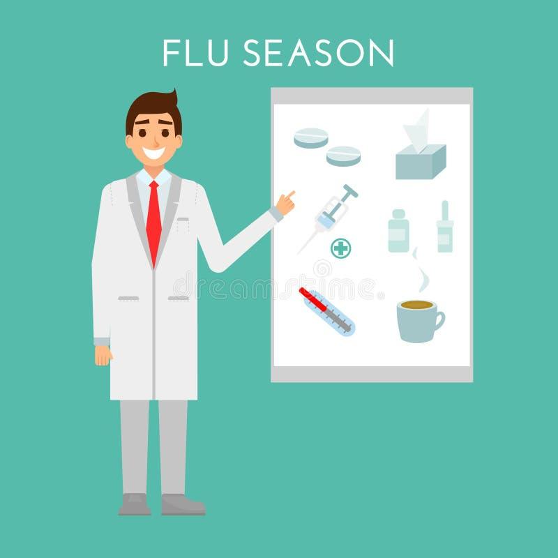 医生提出流感和冷的季节 医疗人医疗保健字符构思设计 传染媒介平的设计 药剂师 皇族释放例证
