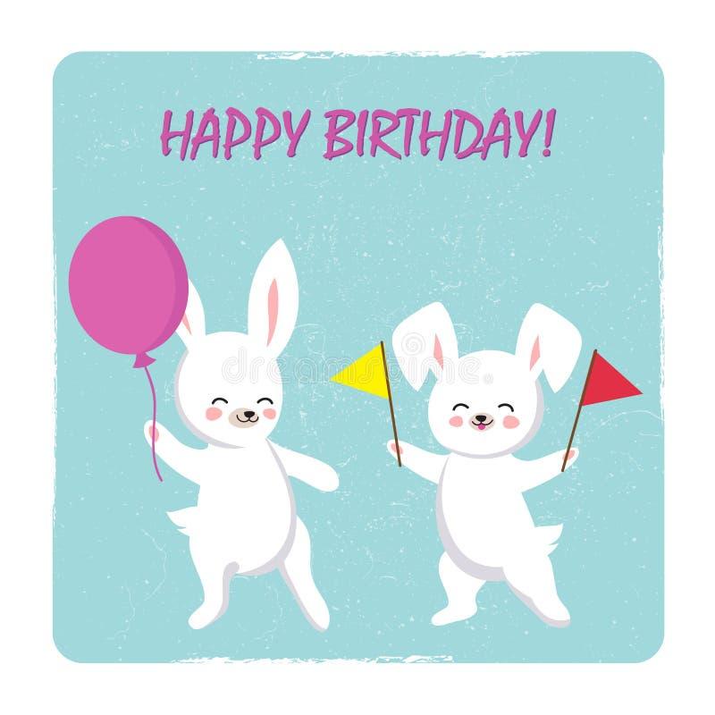 生日与两个愉快的兔宝宝的明信片模板与气球和旗子 库存例证