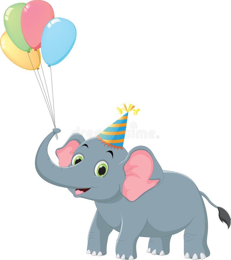 生日与五颜六色的轻快优雅的大象动画片 查出在白色 库存例证