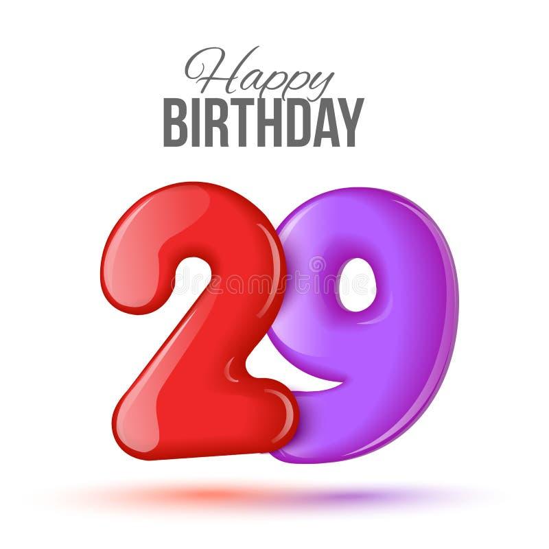 生日与光滑二十九的贺卡模板塑造了气球 向量例证