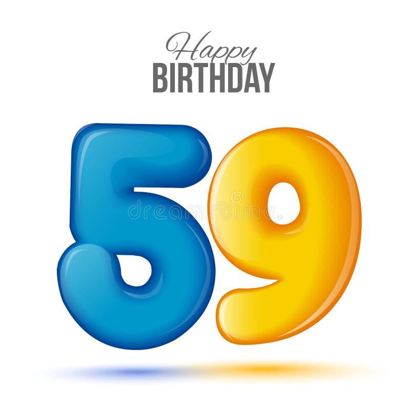 生日与光滑五十九的贺卡模板塑造了气球 向量例证