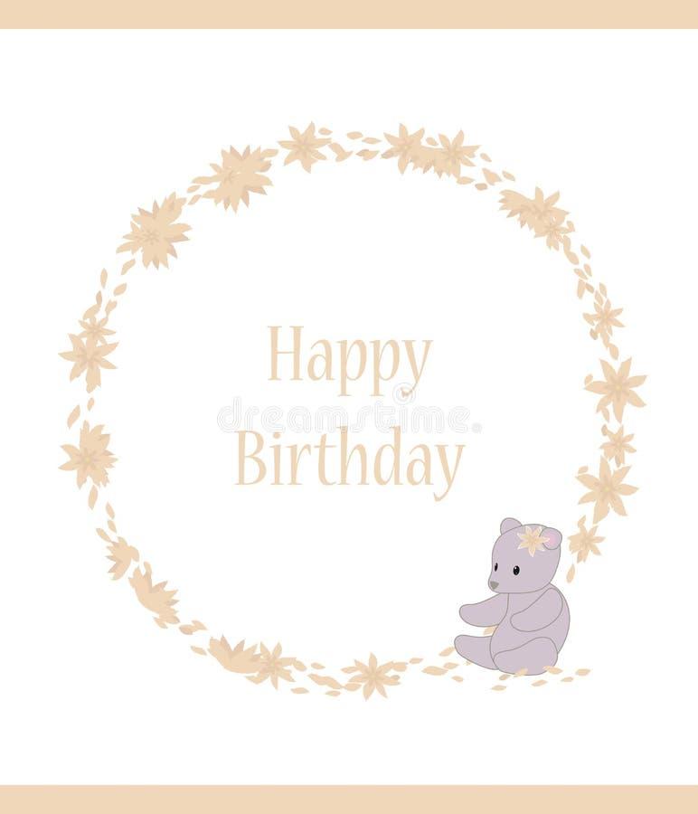 生日与桃红色桃子花瓣题字和花圈的婴孩卡片有玩具灰色的涉及白色背景传染媒介 库存例证