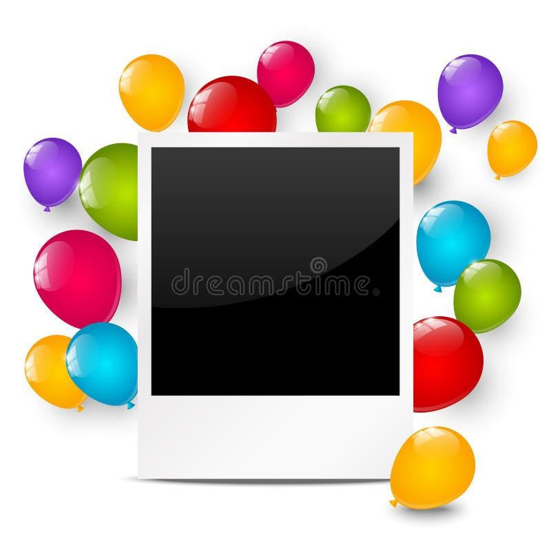 生日与气球的照片框架 库存例证