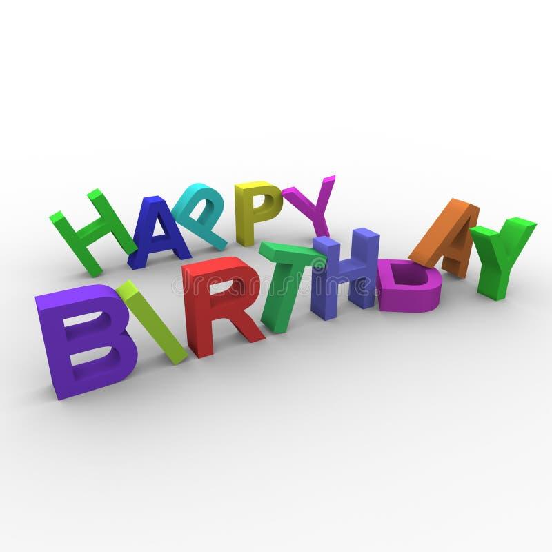 生日五颜六色的愉快的文本 向量例证