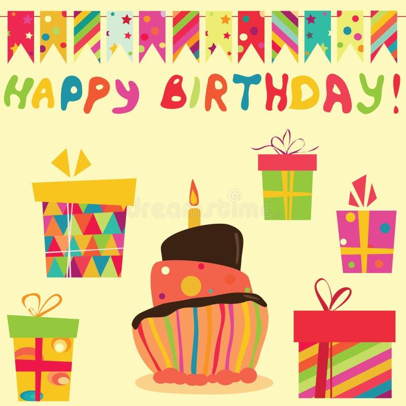 生日减速火箭庆祝的要素 库存例证