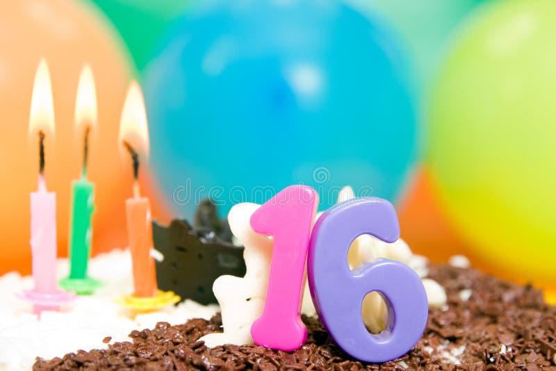 生日十六甜点 免版税库存照片