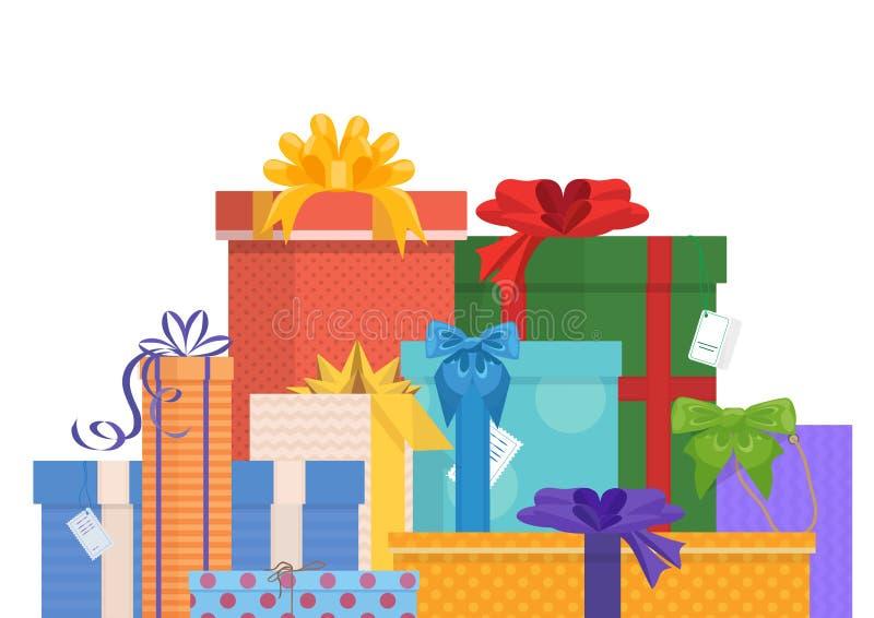 生日和圣诞节假日包裹了礼物礼物组装 库存例证