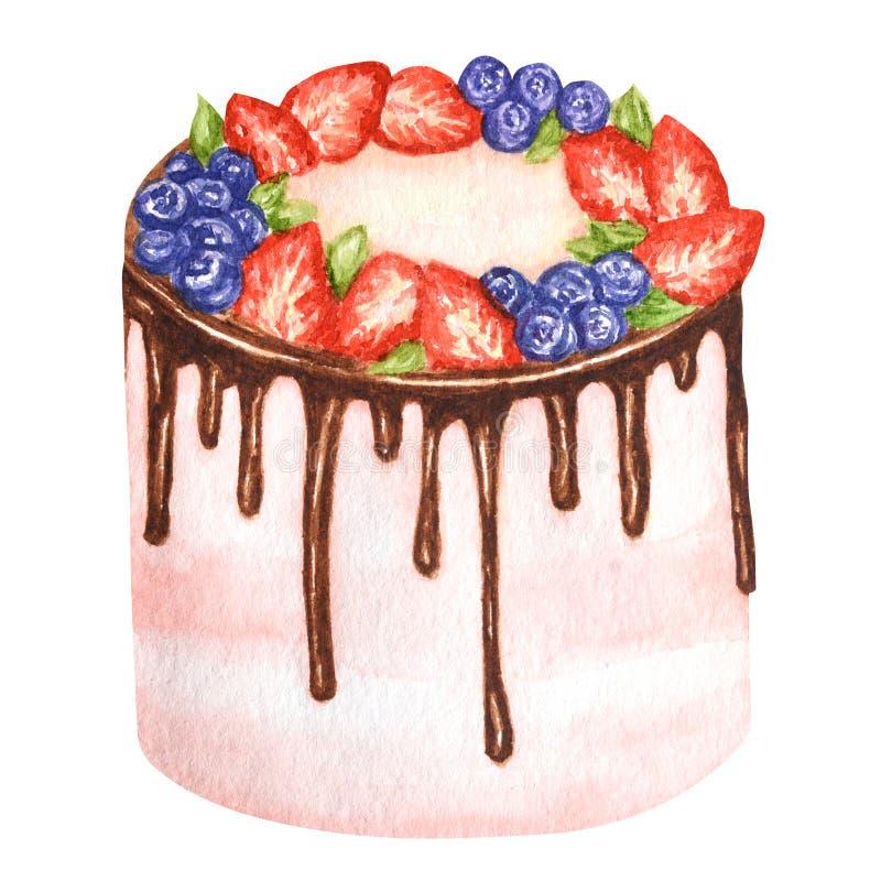 生日和婚姻的水彩蛋糕在白色背景 甜手拉的沙漠 向量例证