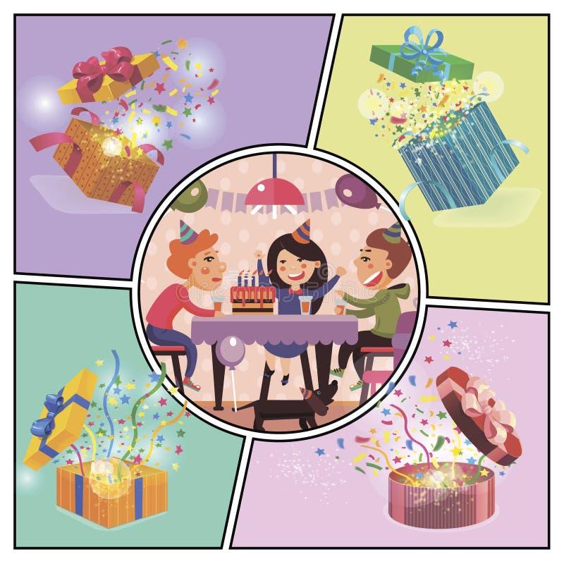 生日宴会五颜六色的概念 向量例证