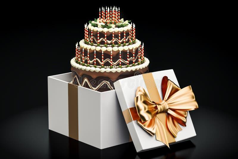 生日巧克力蛋糕里面礼物盒, 3D翻译 库存例证