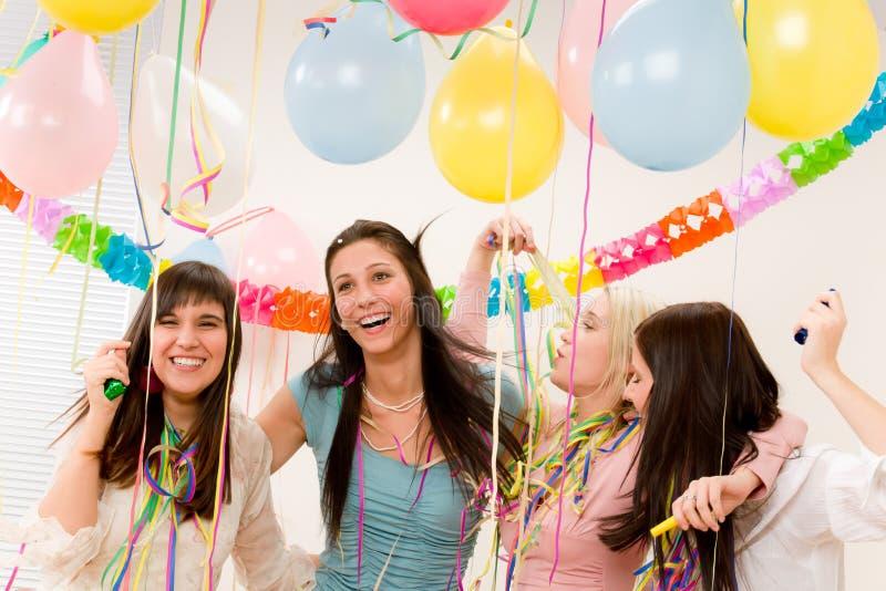 生日庆祝五彩纸屑当事人妇女 免版税库存图片