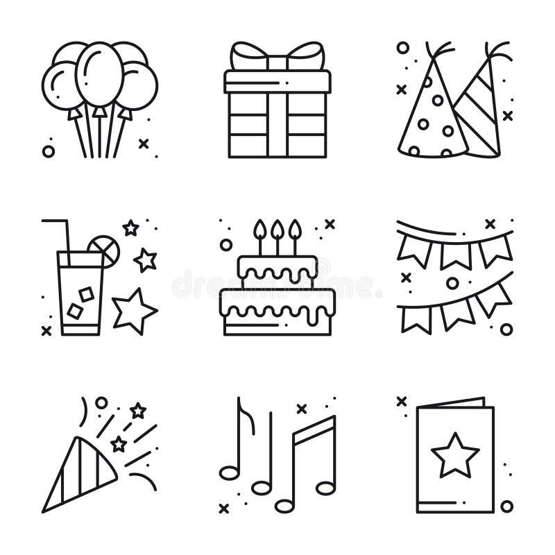 生日庆祝稀薄的线被设置的象 党,假日 基本的生日元素 传染媒介简单的线性设计 库存例证