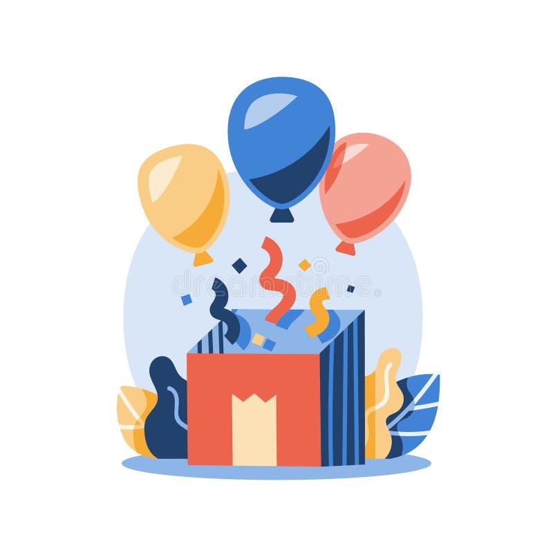 生日庆祝,有气球的被打开的礼物盒和五彩纸屑,惊奇的礼物,孩子集会事件,欢欣概念 向量例证
