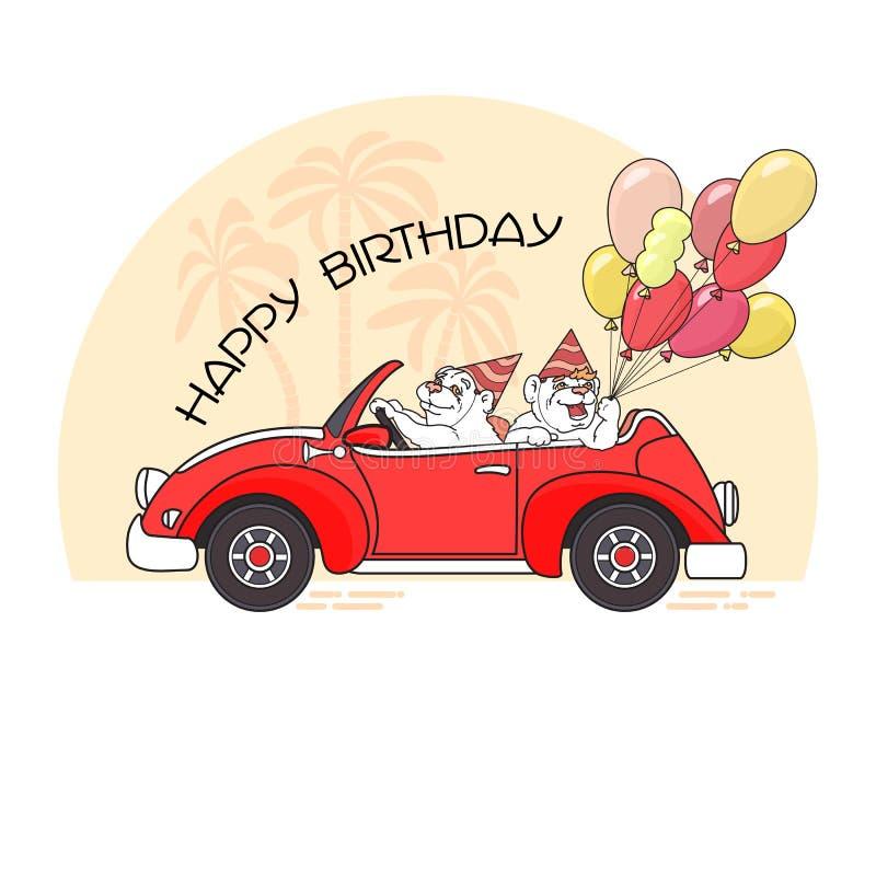 生日快乐与两头熊的贺卡在汽车 向量 库存例证