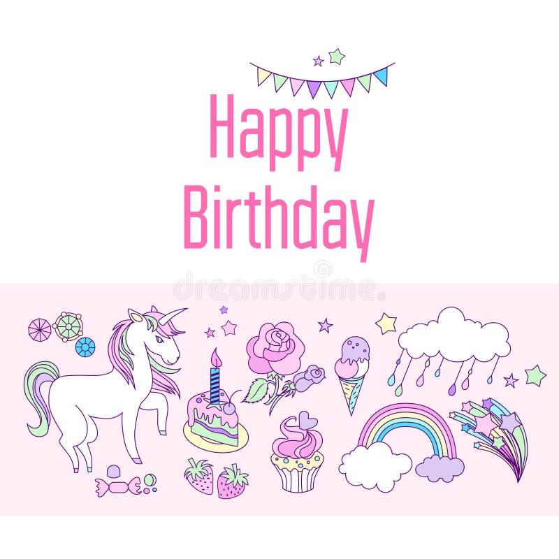 生日快乐与云彩、烟花、独角兽、星旗子和彩虹的假日卡片在桃红色背景 向量例证