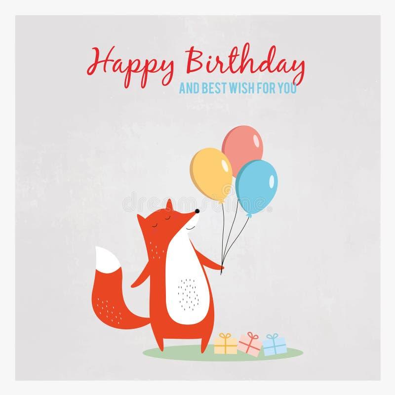 生日快乐与拿着气球的狐狸的贺卡 库存照片