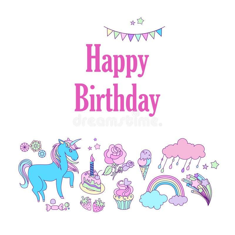 生日快乐与旗子、星、彩虹、冰淇凌、独角兽、云彩和烟花的假日卡片 皇族释放例证