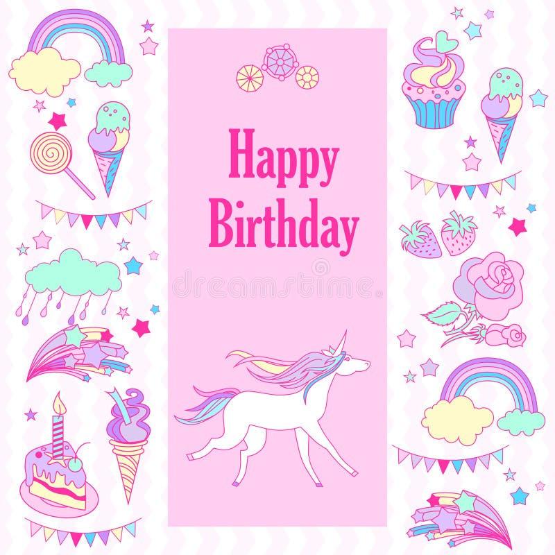 生日快乐与旗子的假日卡片,上升了,独角兽、甜点、草莓、云彩、烟花、星和彩虹 向量例证