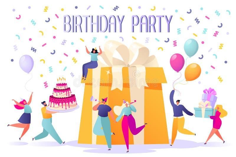 生日快乐与朋友的生日聚会庆祝 人们运载礼物和一个大蛋糕 库存例证