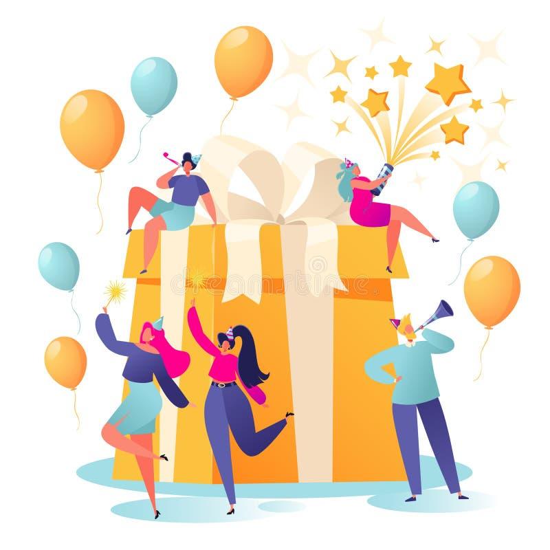 生日快乐与朋友的生日聚会庆祝 皇族释放例证