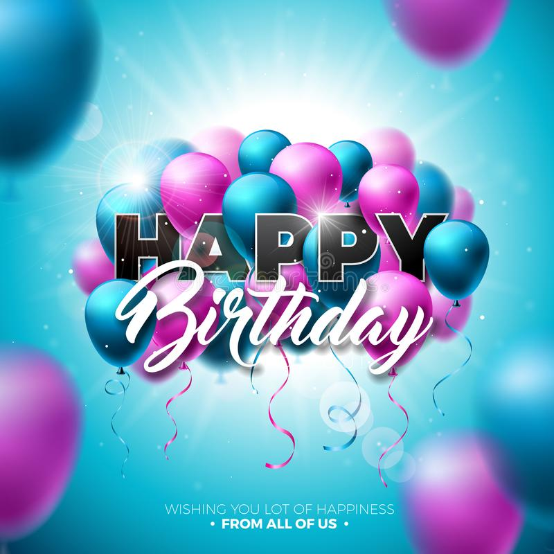 生日快乐与气球、印刷术和3d元素的传染媒介设计在发光的蓝天背景 例证为 库存例证