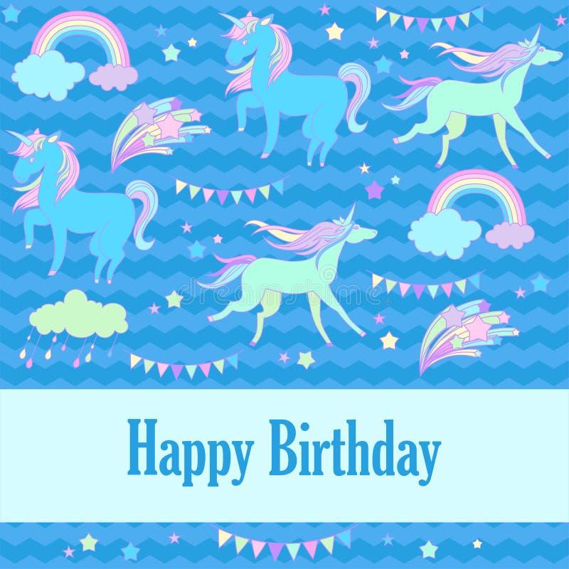 生日快乐与独角兽、旗子、云彩、烟花、星和彩虹的假日卡片在蓝色背景 库存例证