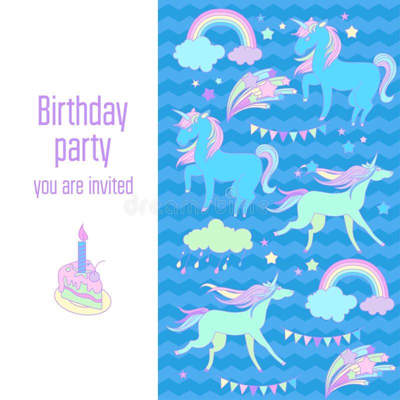 生日快乐与独角兽、旗子、云彩、烟花、星和彩虹的假日卡片在蓝色背景 向量例证
