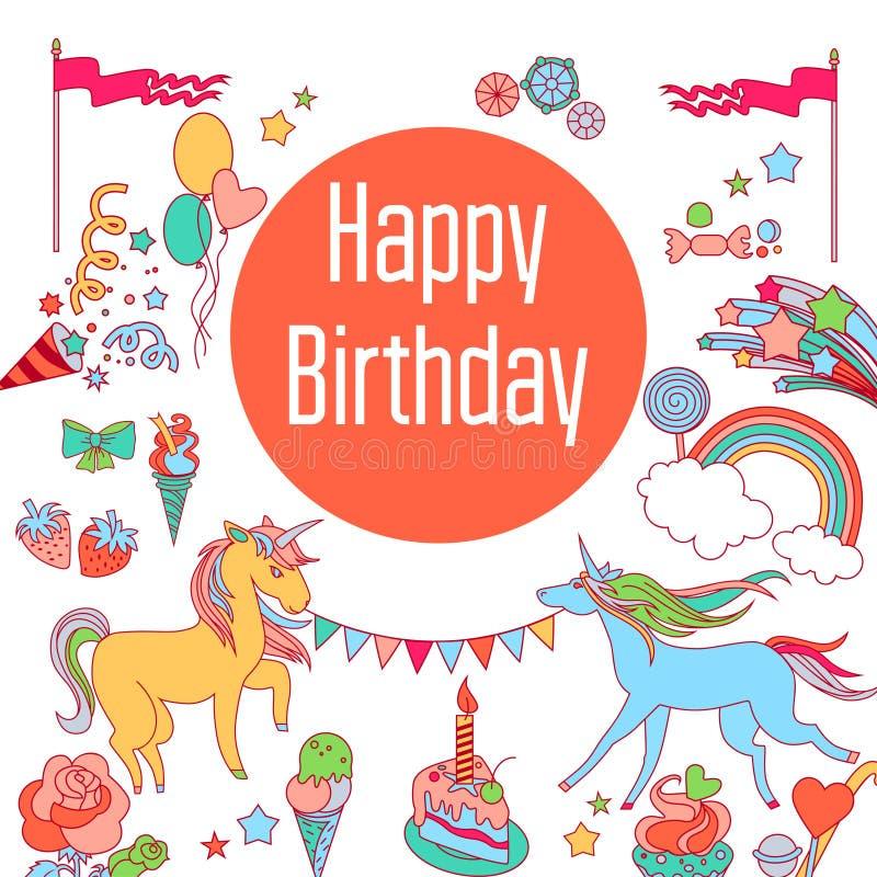 生日快乐与独角兽、甜点、草莓、旗子、云彩、baloons、烟花、星和彩虹的假日卡片  向量例证