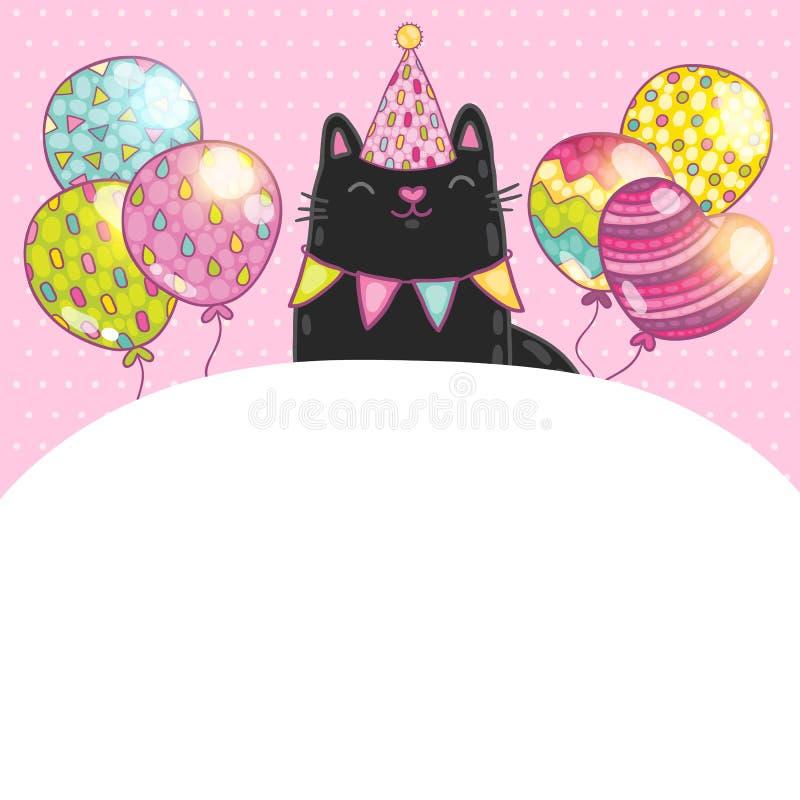 生日快乐与猫的卡片背景。 库存例证