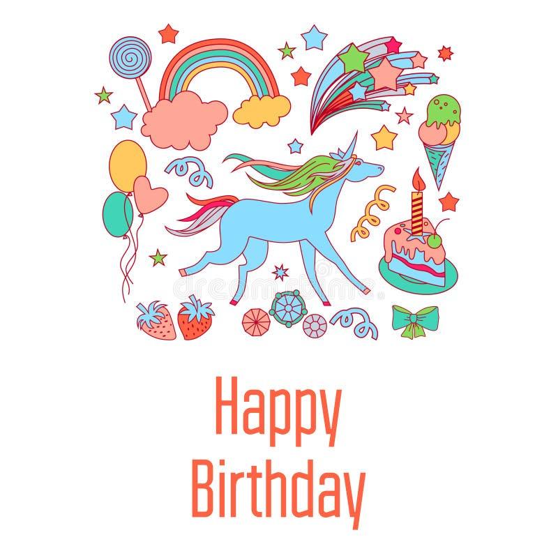 生日快乐与甜点、星、彩虹、冰淇凌、独角兽、云彩和烟花的假日卡片 库存例证
