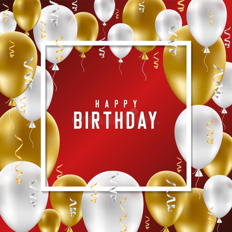 生日快乐与金黄和白色气球的贺卡在r 库存例证