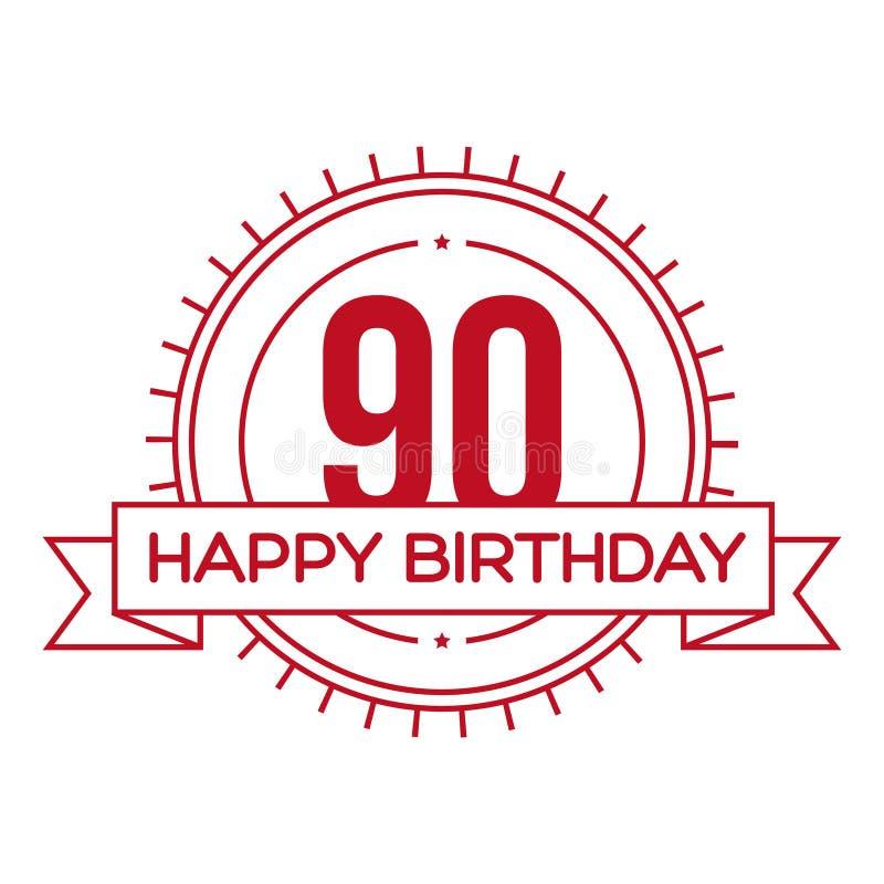 生日快乐九十年标志 库存例证
