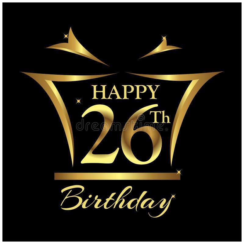 生日快乐二十六年 与数字的典雅的设计 向量例证