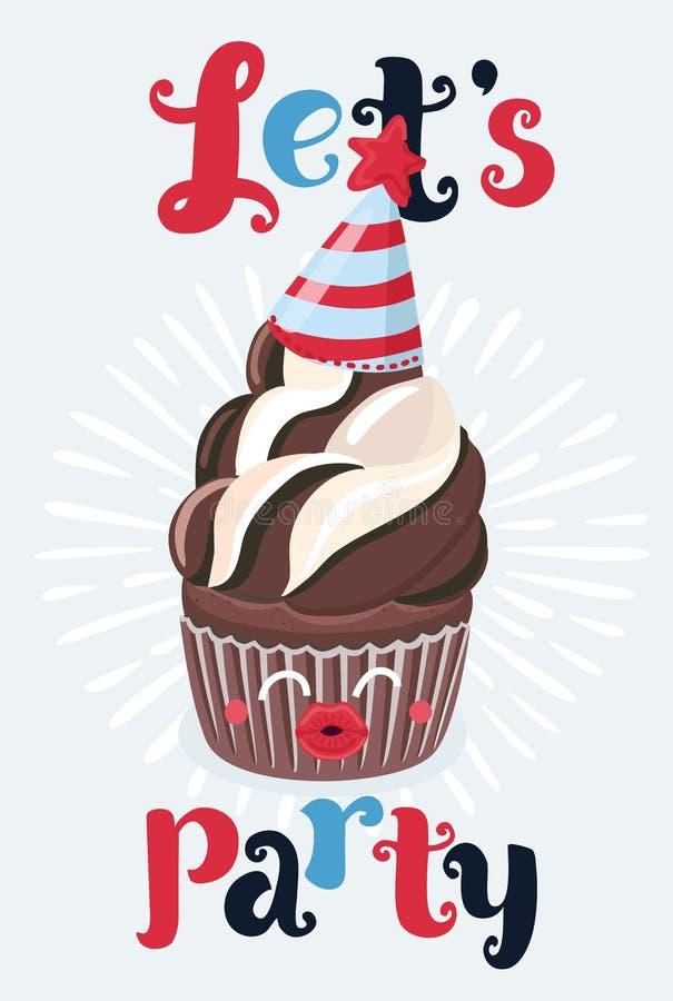 生日快乐党卡集用杯形蛋糕 向量例证