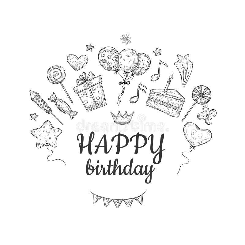 生日快乐剪影背景 生日庆祝党拉长的蛋糕气球孩子惊奇假日乱画传染媒介 向量例证