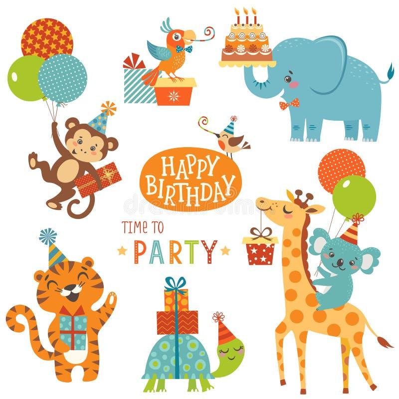 生日快乐动物 向量例证