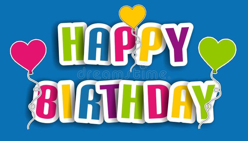 生日快乐卡片,与在蓝色背景-五颜六色的传染媒介例证-隔绝的气球的海报 库存例证