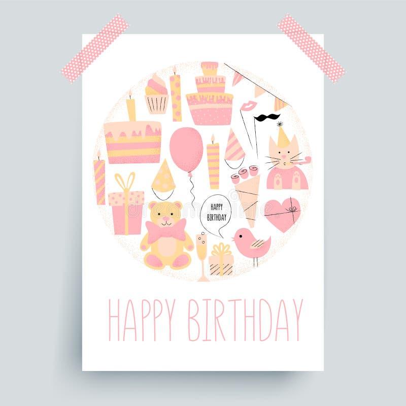 生日快乐卡片,问候 皇族释放例证