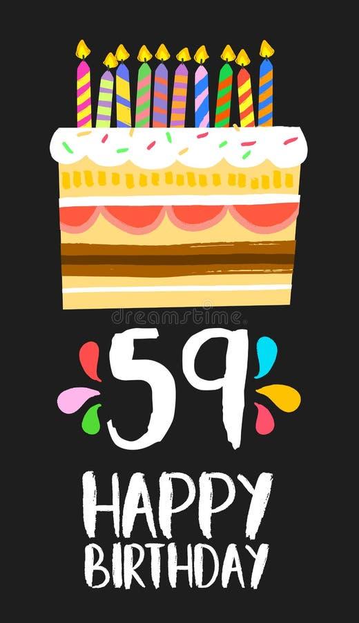 生日快乐卡片59五十九个年蛋糕 皇族释放例证