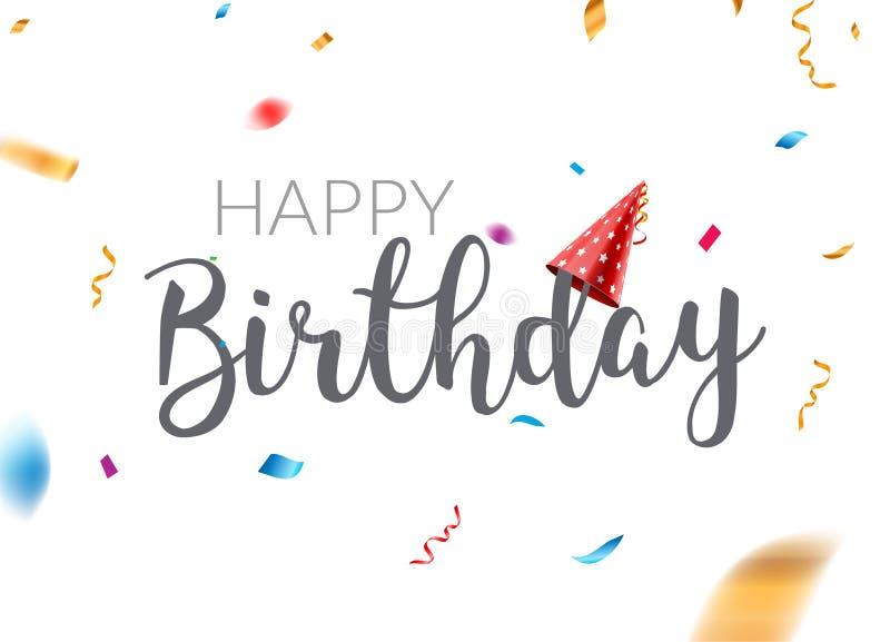 生日快乐印刷术传染媒介设计模板海报 贺卡五彩纸屑横幅为生日 向量例证