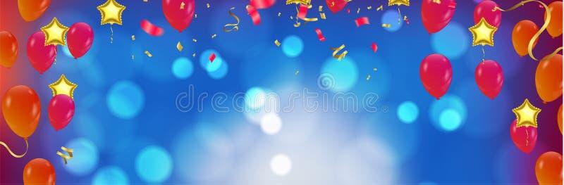 生日快乐印刷术贺卡和海报的传染媒介设计与仿照保险开关样式的气球 库存例证