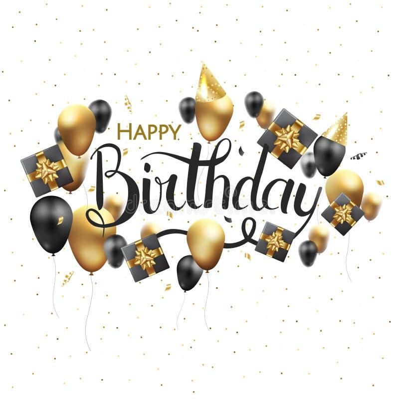 生日快乐印刷术贺卡和海报的传染媒介设计与气球、五彩纸屑和礼物盒 向量例证