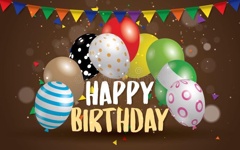 生日快乐印刷术贺卡和海报的传染媒介设计与气球,生日庆祝的模板 向量例证