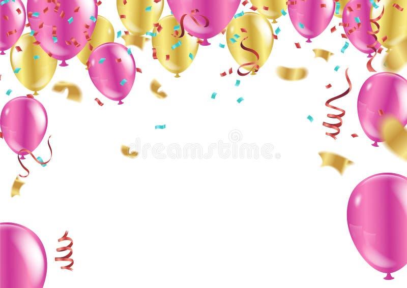 生日快乐印刷术贺卡和p的传染媒介设计 向量例证