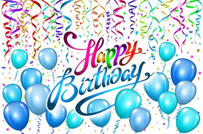 生日快乐印刷术贺卡和海报的传染媒介设计与气球,五彩纸屑,生日celebra的设计模板 向量例证