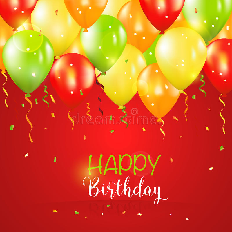 生日快乐和党气球邀请卡片 向量例证