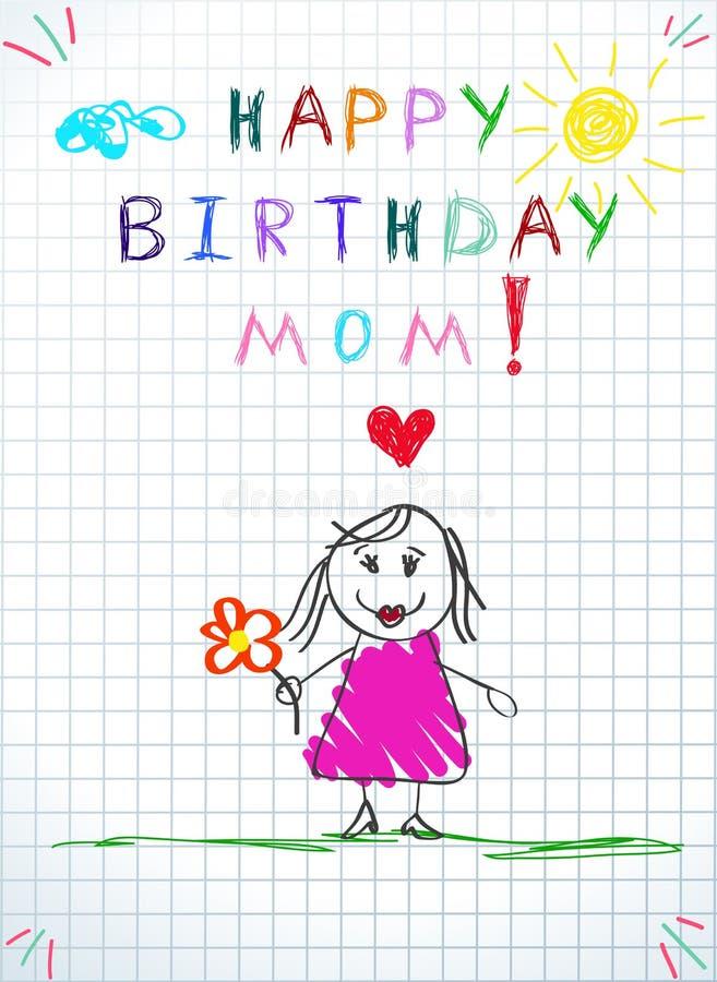 生日快乐妈妈贺卡 婴孩图画 皇族释放例证