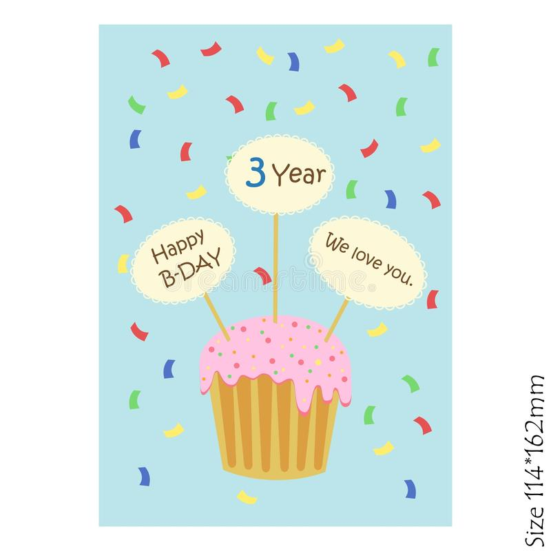 生日快乐孩子的贺卡用杯形蛋糕和板材在蓝色背景 库存例证