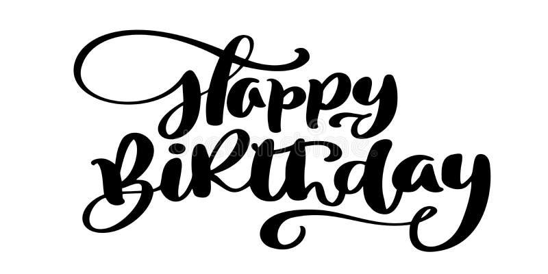 生日快乐手拉的文本词组 书法字法词图表、葡萄酒艺术海报的和贺卡 库存例证