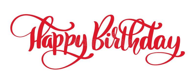 生日快乐手拉的文本词组 书法字法词图表、葡萄酒艺术海报的和贺卡 皇族释放例证